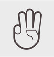 gesture with three fingers up vector image