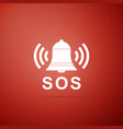 alarm bell and sos lettering warning bell help vector image vector image