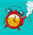 alarm clock in teapot with tea pop art vector image