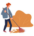 autumn chores character raking dry leaves vector image