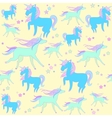 Blue unicorn on yellow background with stars vector image vector image