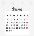calendar 2015 june vector image vector image