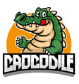 cartoon of crocodile mascot vector image vector image