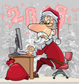 cartoon santa claus working at a computer vector image vector image