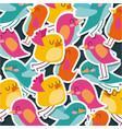 cute birds cartoon animal pattern walpaper vector image