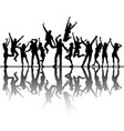 dancing peoples silhouettes with reflection vector image
