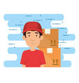 delivery worker with boxes vector image vector image