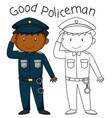 doodle good policeman character vector image