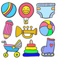 doodle of baby element set style vector image vector image