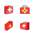 first aid kit icon set cartoon style vector image vector image