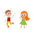 flat boy girl dancing and singing vector image vector image