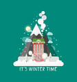 flat design nature winter landscape vector image
