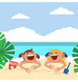 Funny kids on the beach Boy and girl sunbathing on vector image