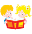 girl and boy read a book vector image vector image