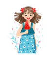 girl with slice watermelon vector image