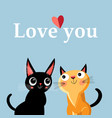 greeting card with enamored kittens vector image vector image