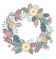 greeting card with floral wreath in flat style on vector image