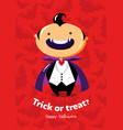halloween poster trick or treat with vampire vector image vector image