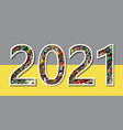 happy new year numbers 2021 vibrant paintbrush vector image