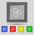 Honeycomb icon sign on original five colored vector image vector image