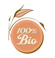 label 100 bio with leaves vector image