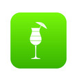 layered cocktail with umbrella icon digital green vector image