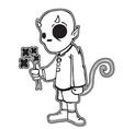 little devil holding black flowers vector image