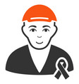 man with mouning ribbon icon vector image vector image