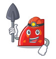 miner quadrant mascot cartoon style vector image vector image