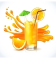Orange juice ice vector image vector image