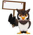 owl cartoon holding blank board vector image