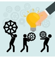 pictogram gears hand bulb teamwork design vector image vector image