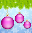 Pink Christmas baubles vector image