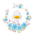 postcard poster a cute duckling in a wreath vector image