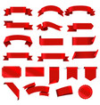 red labels and ribbon set white background vector image vector image