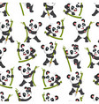 seamless pattern with panda playing vector image vector image