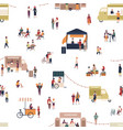 seamless pattern with people walking among trucks vector image vector image