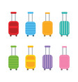 set collection of colorful luggage suitcases vector image