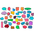 set comic stickers of comic speech bubbles vector image