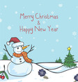 Snowman Christmas Greeting Card Cute Cartoon vector image