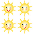 sun smilies set of drawings vector image
