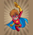 super boy flying ray light background vector image vector image