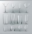 transparent glass set transparent empty vector image