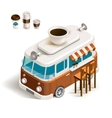 Van with coffee vector image vector image
