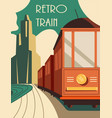 vintage style retro train poster or card design vector image