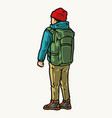 young traveler with green backpack vector image vector image