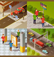 city navigation isometric composition vector image
