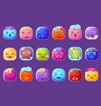 colorful buttons emoticons sett with with frozen vector image