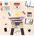 Businessman Workplace Desk Hands Working Laptop vector image