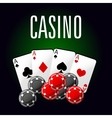Casino club icon with four aces and gambling chips vector image